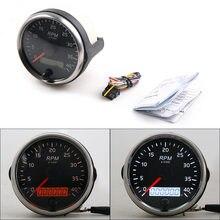 Tacómetro diésel de 0 a 4000RPM, medidor de 85MM RPM, luz ámbar/blanca, con reloj de arena LCD para coche, barco y motocicleta