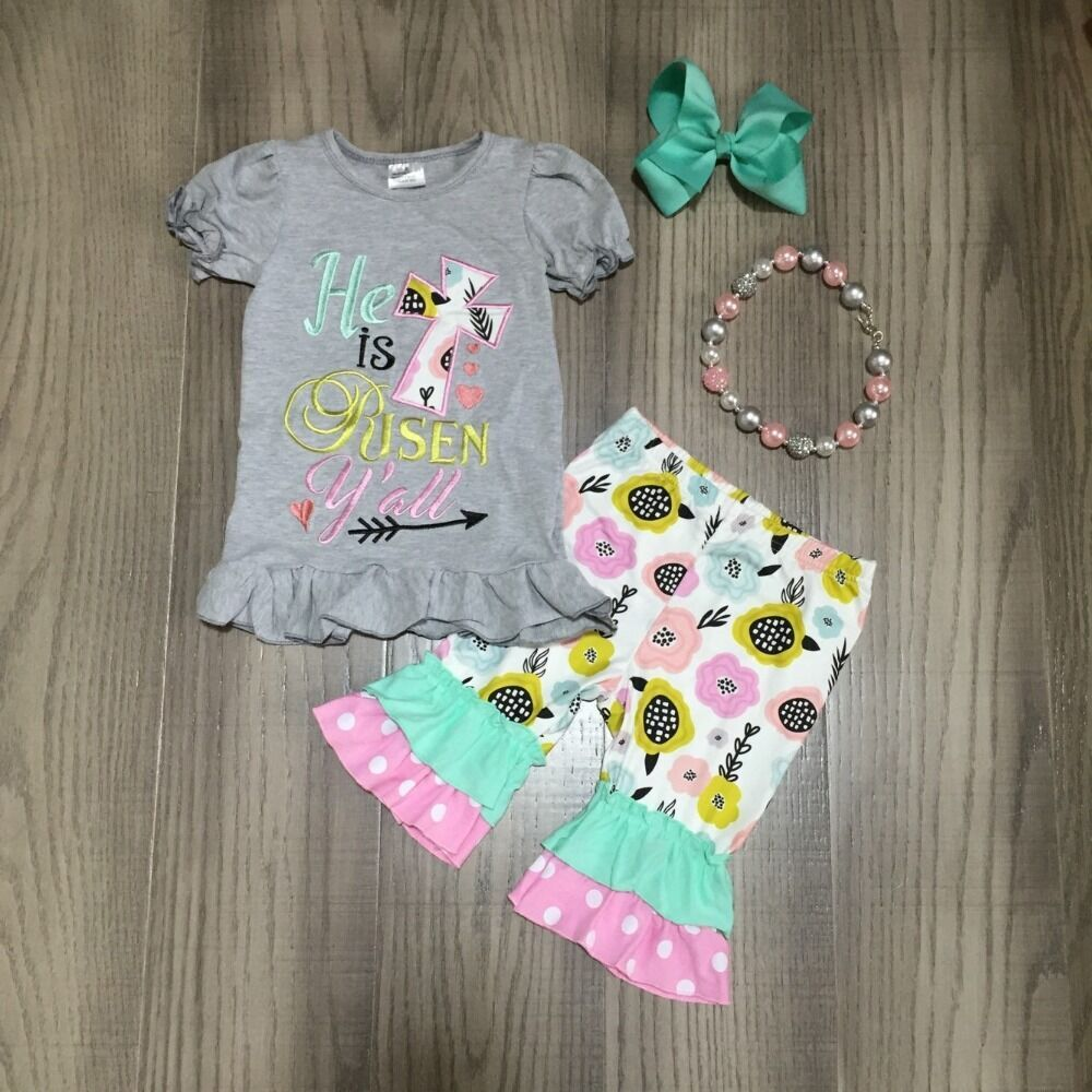 Baby Girls Easter Outfits Girls Grey Shirt With Floral Capri Pant Girls Outfit With Accessories