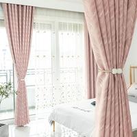 Cortinas modernas para sala de estar jantar quarto cortinas simples rosa cinza claro verde escuro quatro cores opcional moderntulle