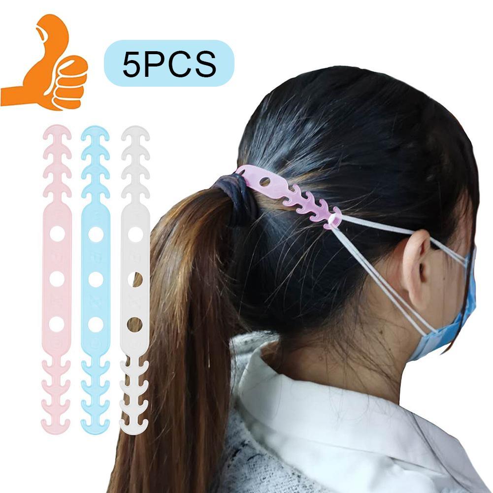 5Pcs Ear Mask Hooks Soft Face Mask Ear Hooks Buckle Kids Adjustable Earache Prevention Fixer Non-slip Masks Hooks Random Color