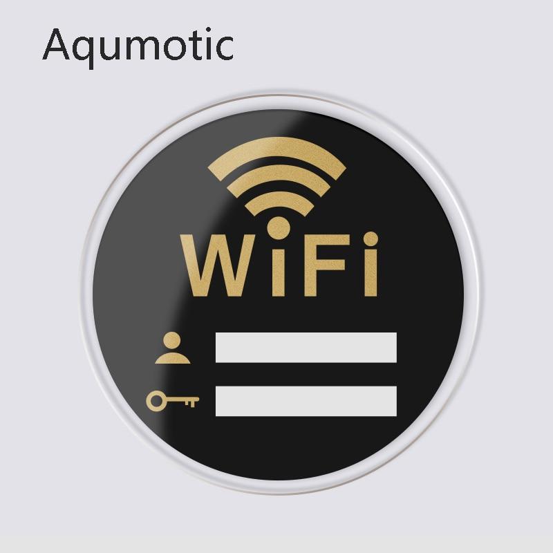 Aqumotic Free Wifi Sign Network Signs Wall Sticker Bezdrátové na palubě Internet Sign Acrylic Sticker Available Multifunction Bar
