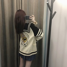 2019 Autumn Sweater Women New Sweet College Style Cartoon Rotator Sleeve Navy Collar Retro Lovely Cardigan