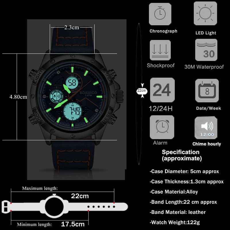 BOAMIGO Fashion Mens Watches for men Military Digital analog Quartz Chronograph sport Watch waterproof leather LED  reloj hombre 4