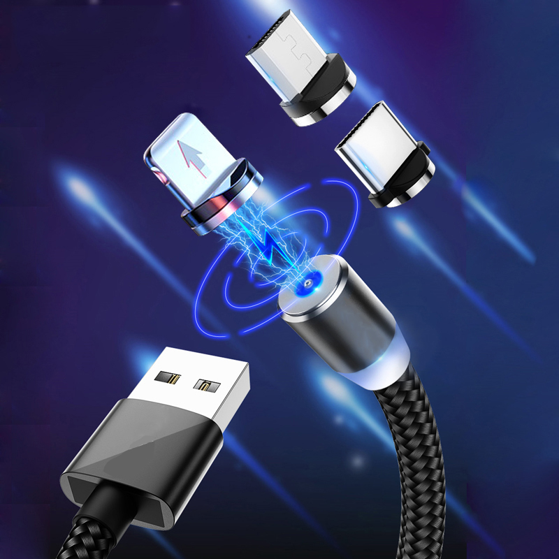 360 LED Magnetic Charging Cable For IPhone XR XS MAX X 8 7 6 6S Plus Mobile Phone Magnet Charger Micro USB C Cable Type C Wire
