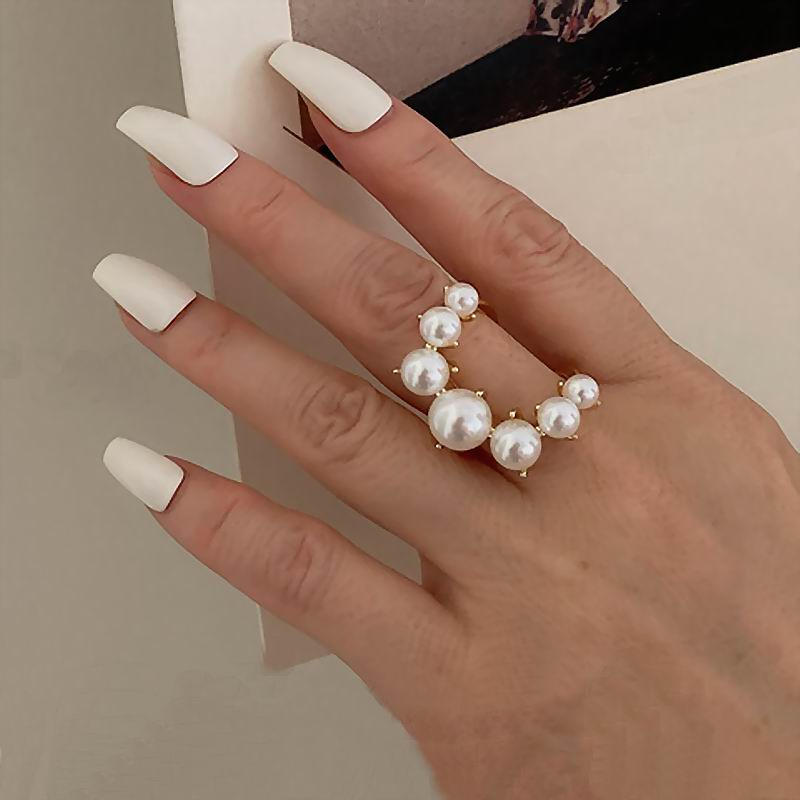 Fashion Big Geometric Pearl Paved Rings For Women 2021 New Jewelry Personality Statement Open Ring Adjustable Bijoux