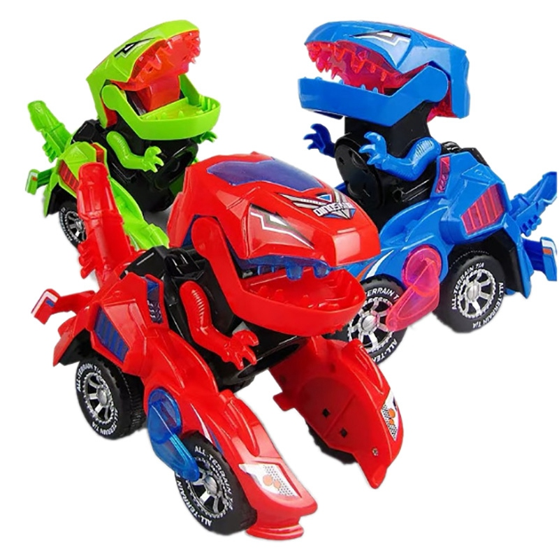 Deformation Electronic Dinosaur Car Toy Universal Wheel Transformation Robot Vehicle With Lights Sounds Gift For Kids(Color Rand