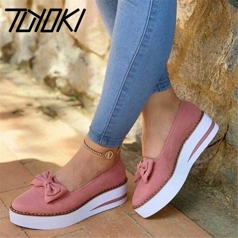 Tuyoki New Summer Pumps For Women Round Toe Thick Bottom Platform Shoes Bowknot Sweet Shoes Slip On Flock Ladies Size 35-43