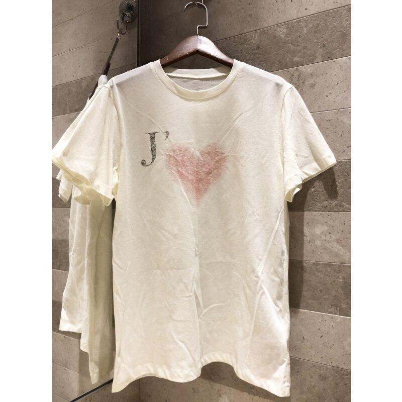 Kadın Giyim'ten Tişörtler'de Pamuk Keten Pembe aşk baskı kısa kollu Tişört kadın kaliteli moda Eğlence Rahat üst Arka mektup baskılı tişört'da  Grup 1