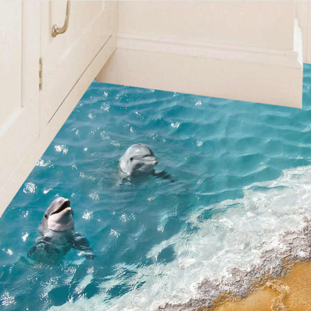 3D Wall Sticker Dolphin Ocean Waterproof Bathroom Kitchen Decal Mural For Kids