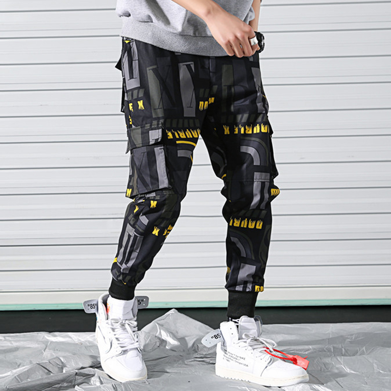 Men's Side Pockets Printed Cargo Pants 2019 Hip Hop Casual Joggers Harem Trousers Male Fashion Print Streetwear Pant WA89