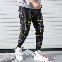 Men's Side Pockets Printed Cargo Pants 2019 Hip Hop Casual Joggers Harem Trousers Male Fashion Print Streetwear Pant WA89