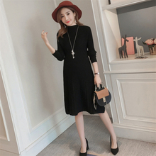 Autumn winter new maternity sweater knitted stretch slim knit dress Pregnant women fashion solid color loose mid-length sweater