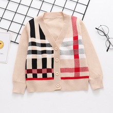 Children winter clothes V-neck plaid sweater coat fashion baby boy cardigan sweaters 2019 new Kids dresses for