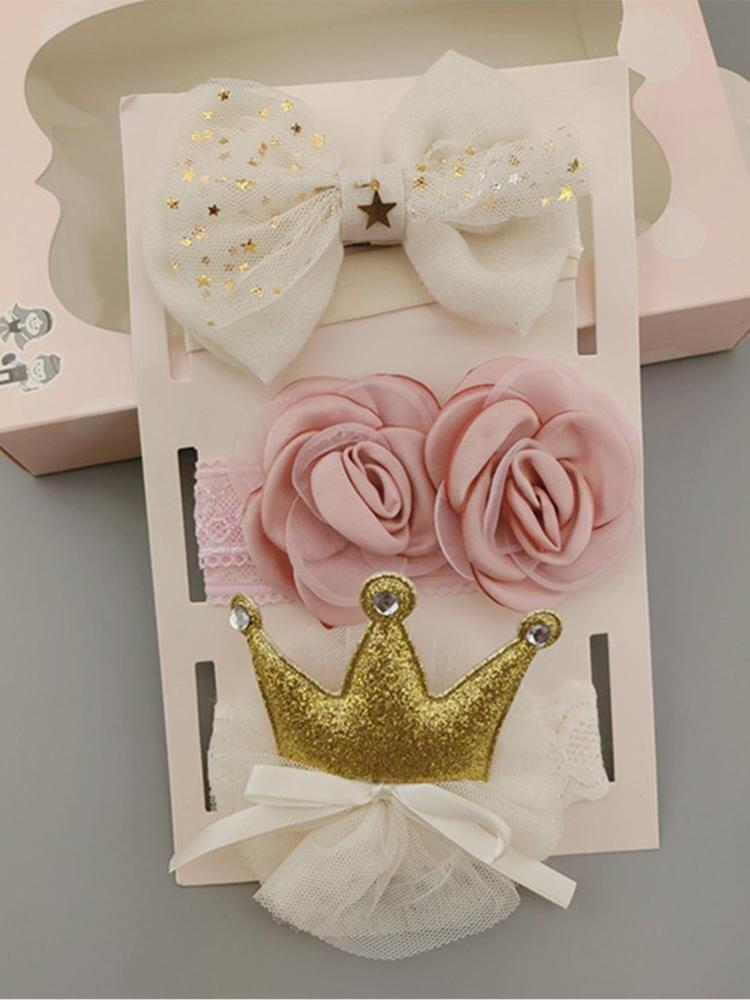 3Pcs/Set Flower Baby Girl Headband Bows Crown Newborn Toddler Turban Hair Band Headbands