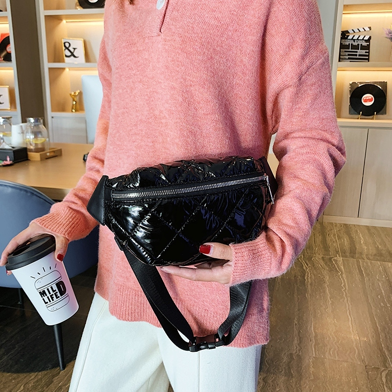Women's Bright Leather Waist Bag Banana Hip Belt Bags Fashion Plaid Fanny Pack Female Shoulder Crossbody Chest Bag Bum Purse