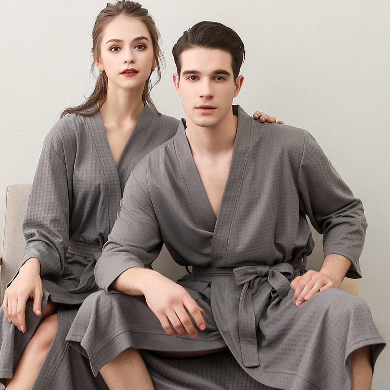 New Spring Summer  Sexy Women's Bathrobe Sleepwear Solid Male Nightgown Home Wear Couples Large Kimono Bath Gown