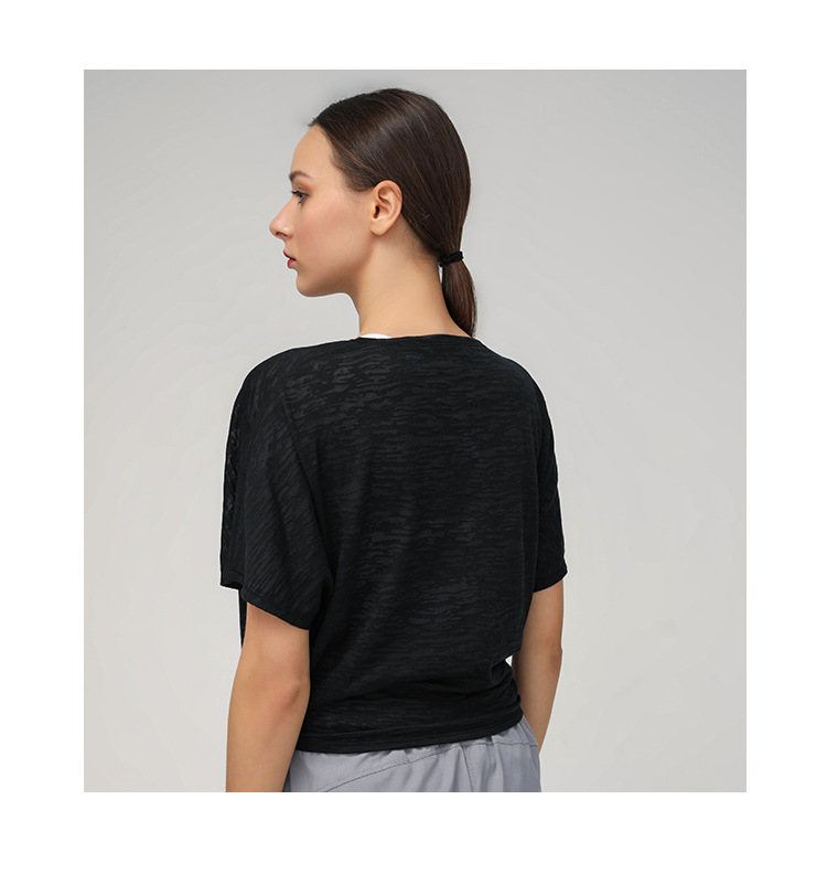 Mulheres yoga camisas respirável manga curta camisa