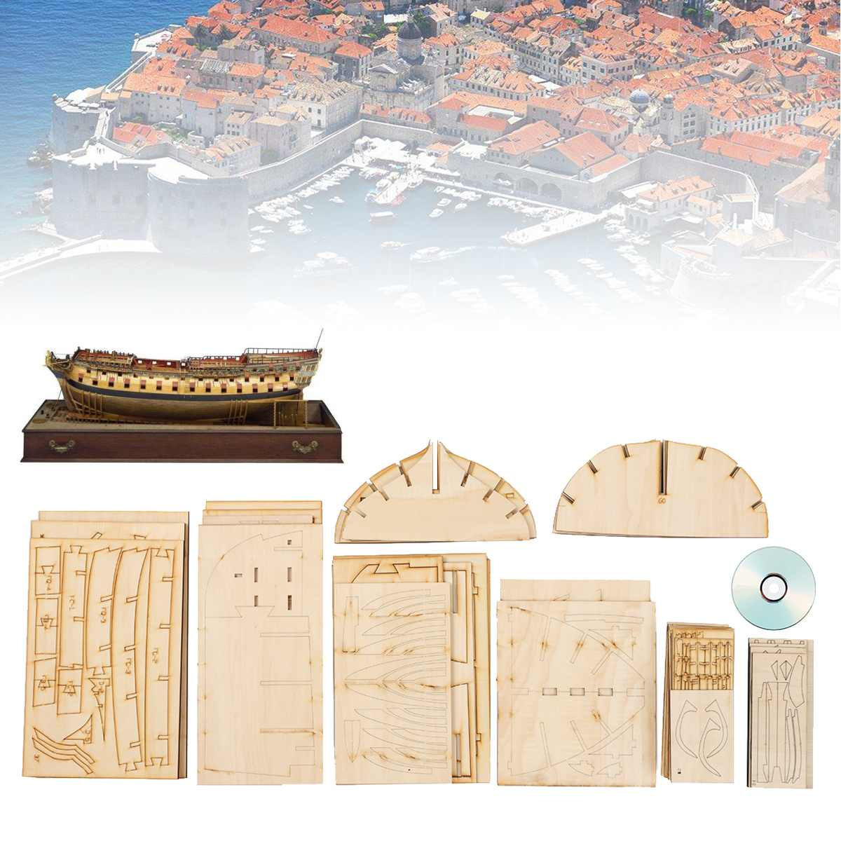DIY Handmade Assembly Ship For HMS Bellona <font><b>1/48</b></font> Scale Wooden Craft Battleship Model Kits Household Ornaments Decoration Gift image