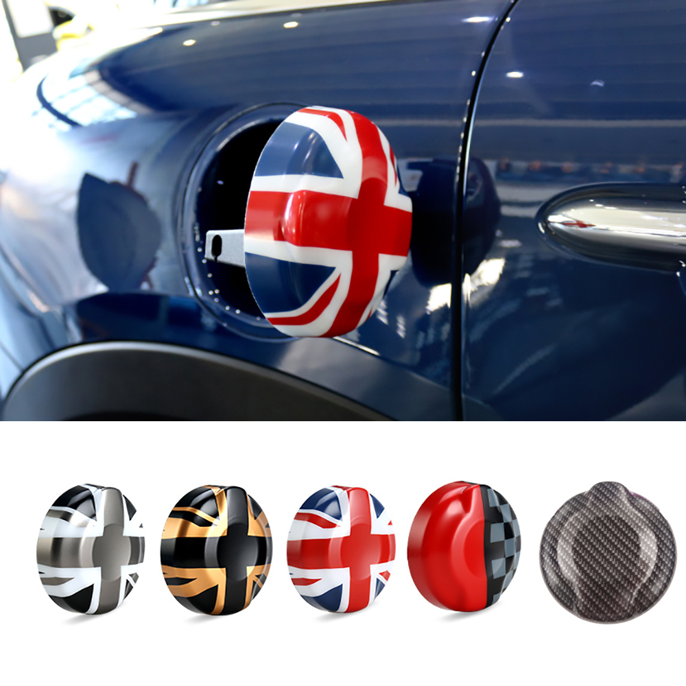 ABS Carbon Fiber Union Jack Flag Fuel Tank Cap Cover Sticker Case Decoration For BMW MINI Cooper S 2 0T F55 F56 Car Styling