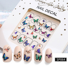 6pcs 3D gilding laser  Popular nail sticker dribble butterfly laser manicure Decal 3D waterproof manicure accessories недорого