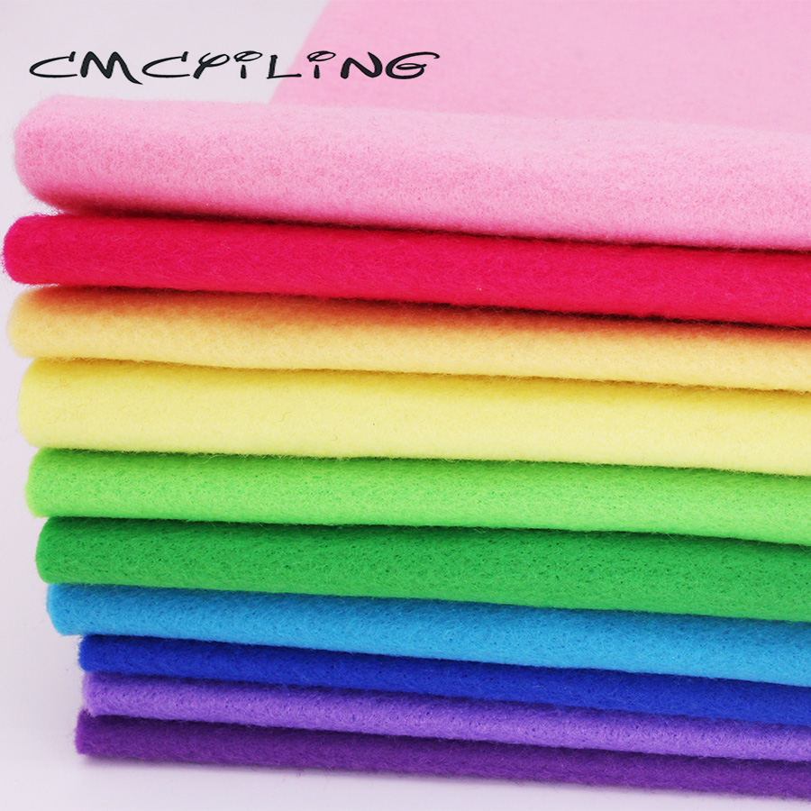 CMCYILING <font><b>10</b></font> Pcs/Lot Patchwork Soft <font><b>Felt</b></font> Fabric For Needlework DIY Sewing Dolls Crafts 1.2 <font><b>MM</b></font> Thickness Polyester Cloth image