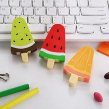 1pc/lot Kawaii Fruit Watermelon Kiwi Popsicle Rubber Eraser Stationery School Office Supplies Student Gift Random
