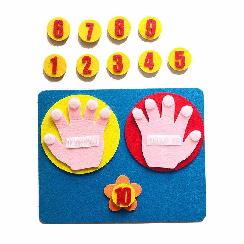 1 Set Kinderen Wiskunde Speelgoed Vinger Tellen 1-10 Leren Montessori Educatief Speelgoed Vilt Vinger Nummers Onderwijs Aid Diy craft
