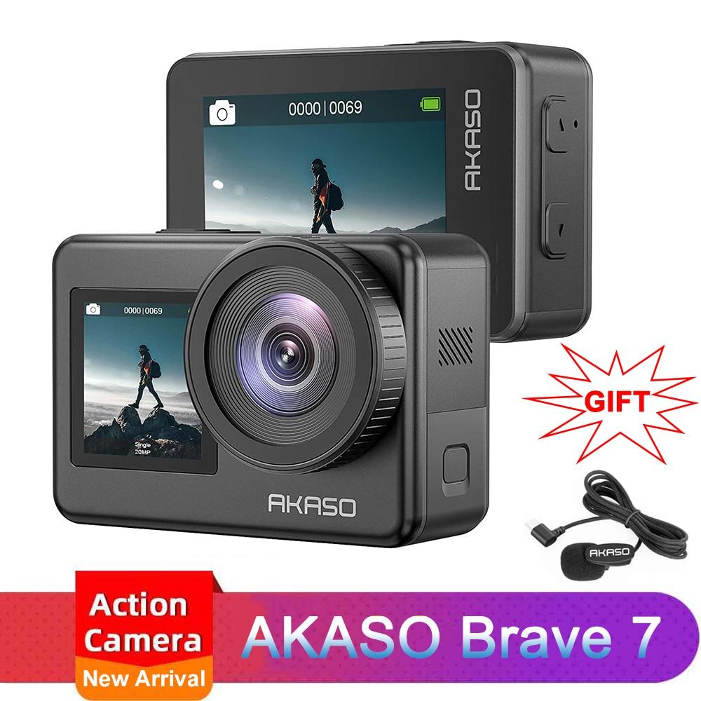 Экшн-камера AKASO Brave 7, 4K, 30 кадров/с, 20 МП, Wi-Fi, сенсорный экран, дистанционное управление