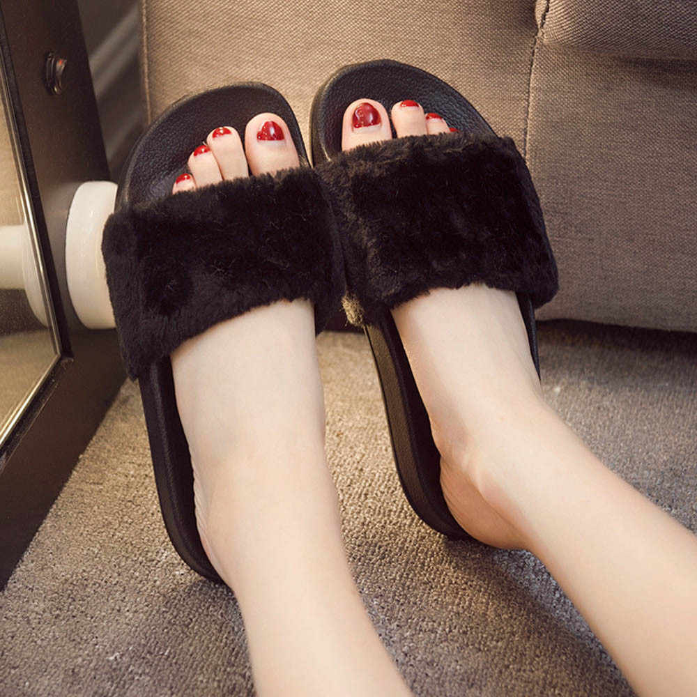 Fashion Casual Womens Ladies Slip On Sliders Fluffy Faux Fur Flat Slipper Flip Flop Sandal Solid Ladies Shoes #YL5