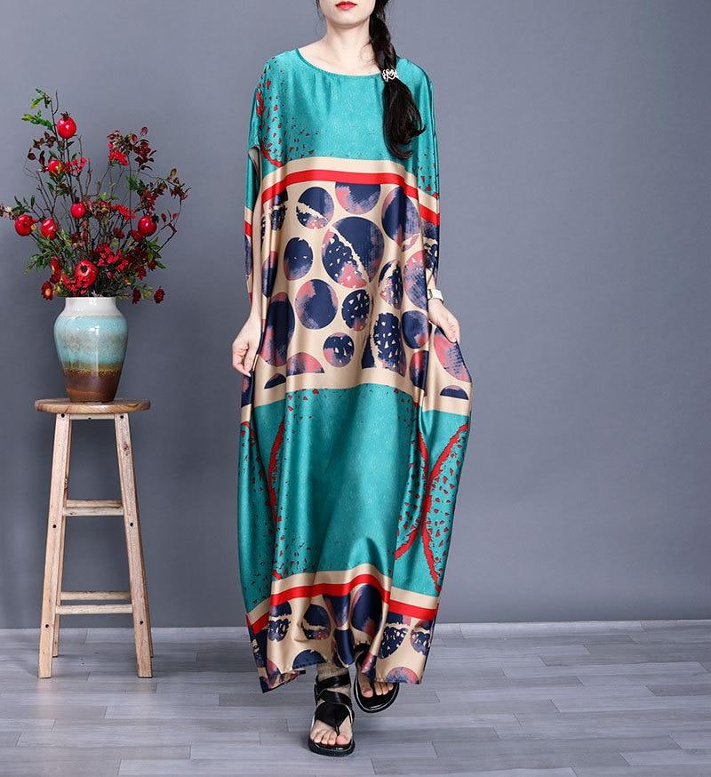 Oversized Dress Summer Women Large Size 2020 New Silk Polka Dot Printed Round Neck Short Sleeves Loose Casual Dress Midi