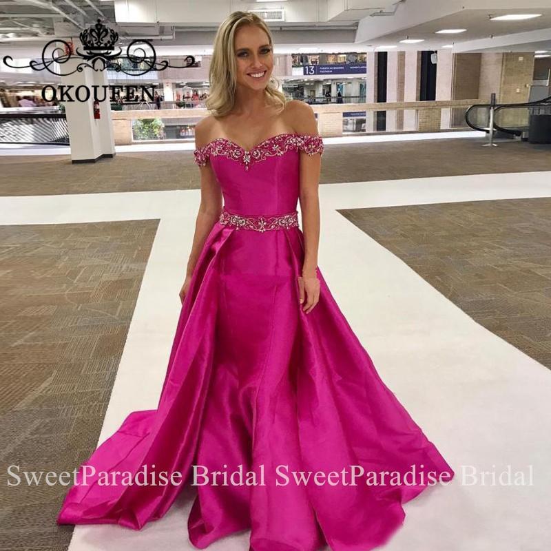 Sparkling Silver Beads Crystal Evening Dress Long Fuchsia Satin Mermaid Off Shoulder Prom Dresses For Women Robe De Soiree