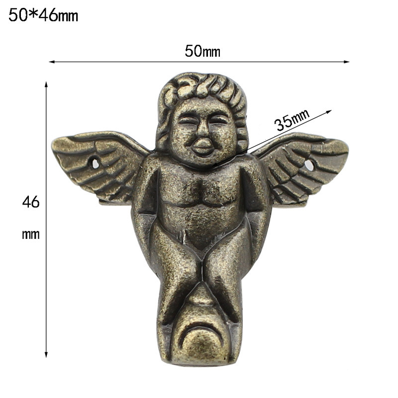 Antique Angel Wooden Box Foot Alloy Wine Box Four Sides Decoration Furniture Legs Crafts Carving Hardware Accessories