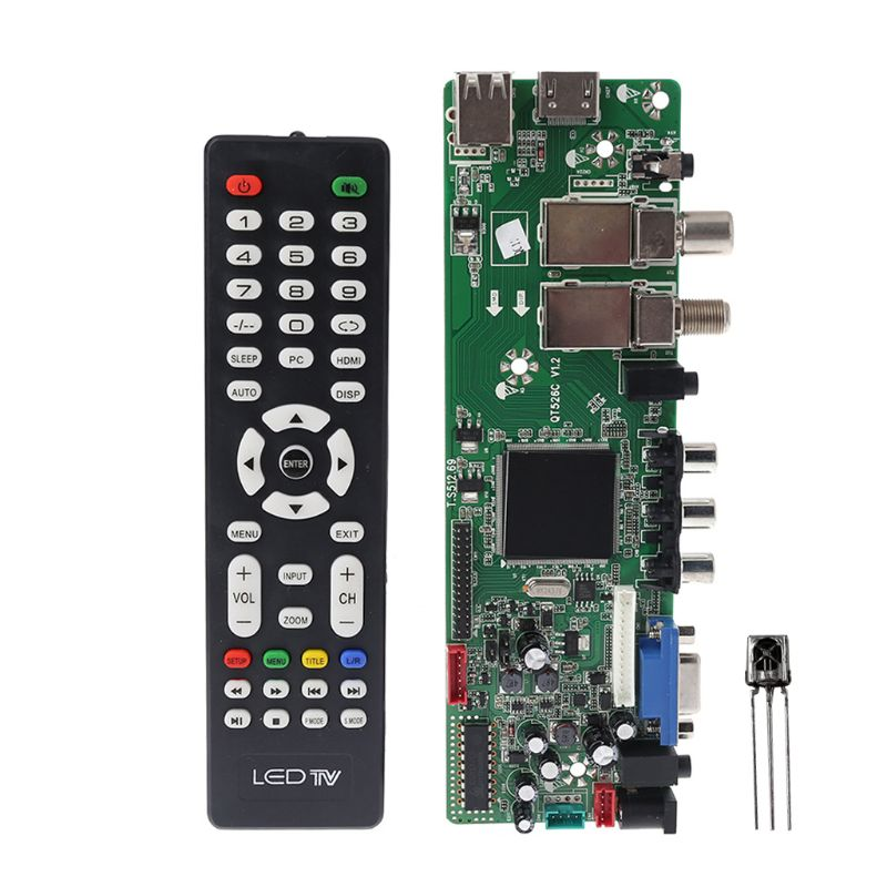 DVB S2 DVB T2 DVB C Digital Signal ATV Maple Driver LCD Remote Control Board Launcher Universal Dual USB Media QT526C V1.1 T. S5 Replacement Parts & Accessories     - title=