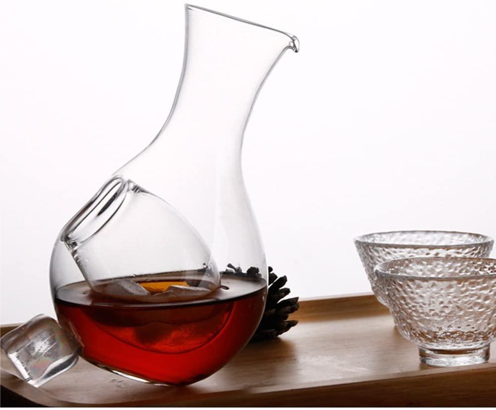 Графин для виски, маленький Графин для вина, карман для льда, кувшин для чистой воды, стеклянный графин для сока, чая, кофе, 1 графин (13 унций-400 ...