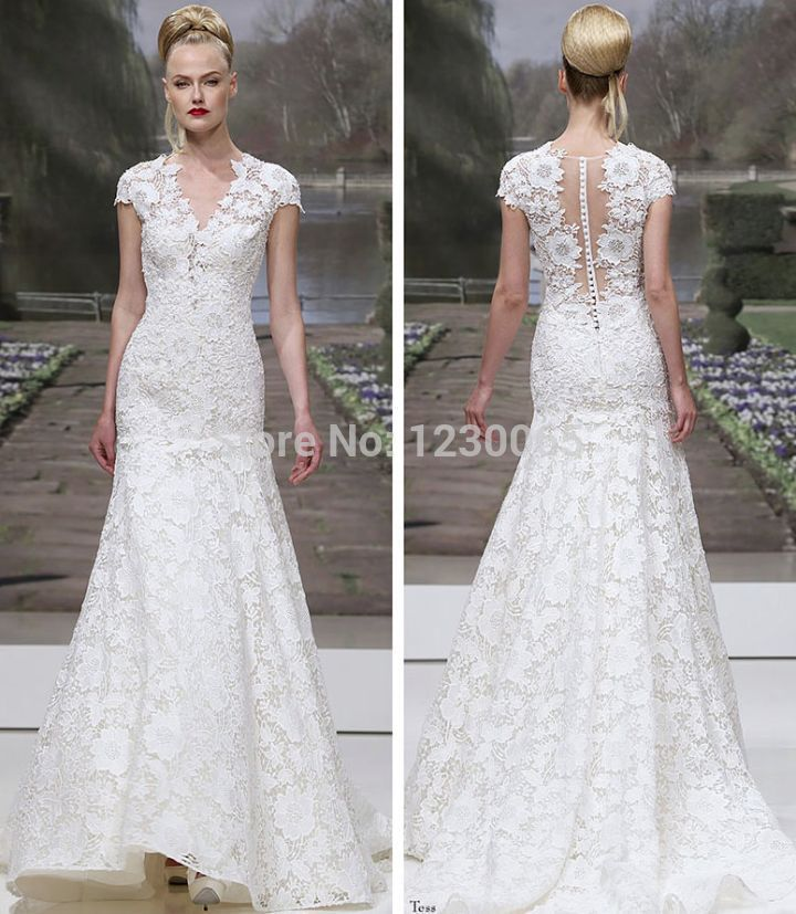 Casamento Vestido De Noiva 2018 New V-neck A-line Long Lace Cap Sleeve Bridal Gown Free Shipping Mother Of The Bride Dresses