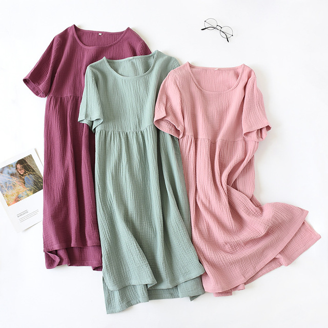 Yaz pijama % 100% pamuk krep kısa kollu Sleepshirts artı boyutu gevşek Nightgowns kadınlar gece elbisesi seksi uyku elbise