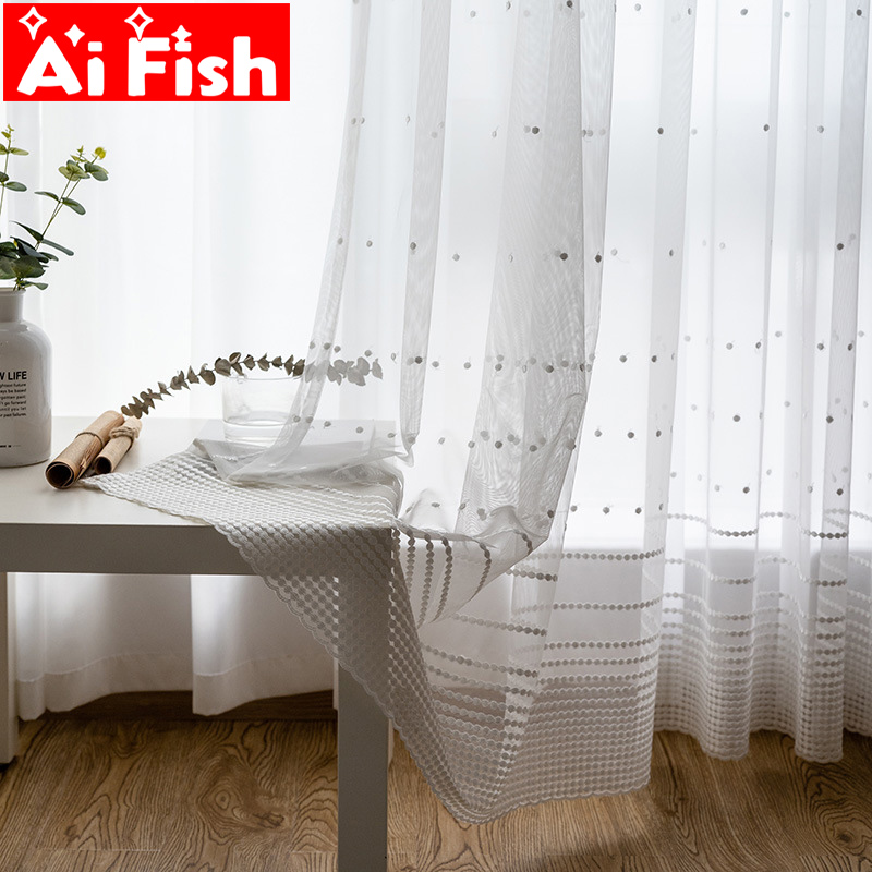 Endless Stripe Drapes Window Screen Sheer Fabric Nordic Simple White Sheer Panel Tulle Curtain For Living Room M094-50