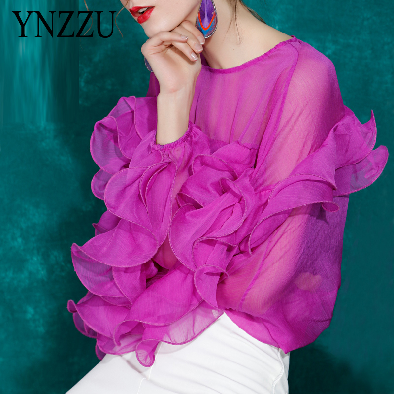 Ladies Sheer Ruffles Bat Sleeve Top Women Red White O-neck Loose Shirt Feamel Shirt And Blouses Spring Summer Chic YNZZU YT819