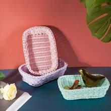 Цветовая корзина для хранения мороженого Макарон плетеная хлеба