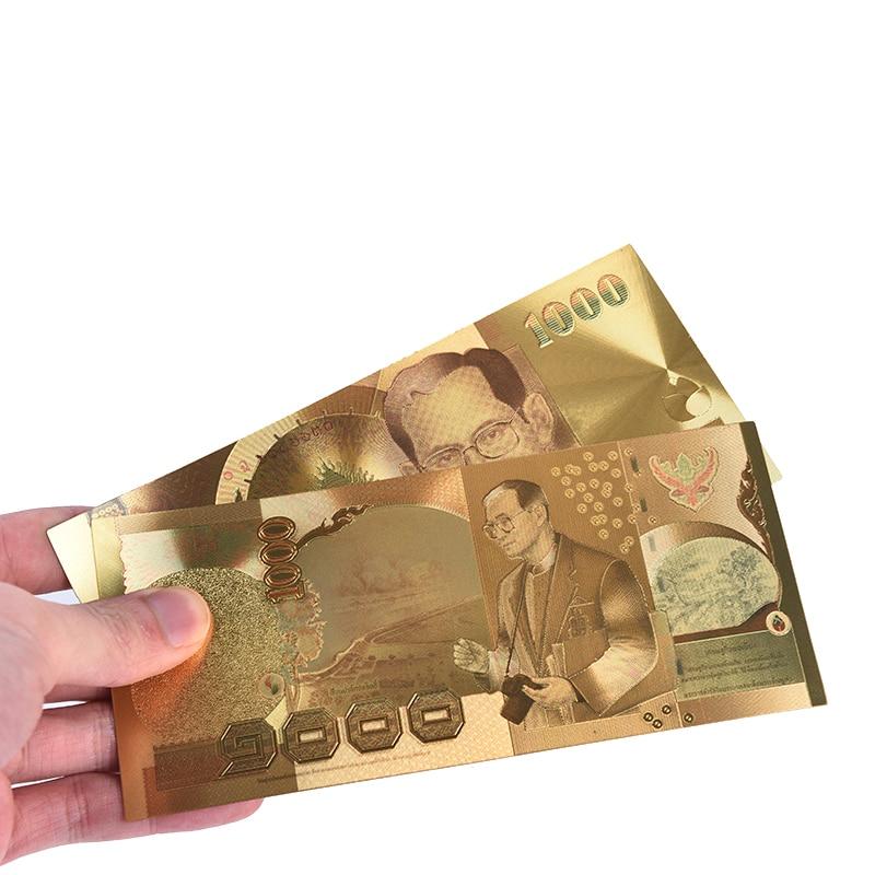 Billete de banco de Tailandia 1000 baht en colección de marco de plástico de billetes de oro de 24 k