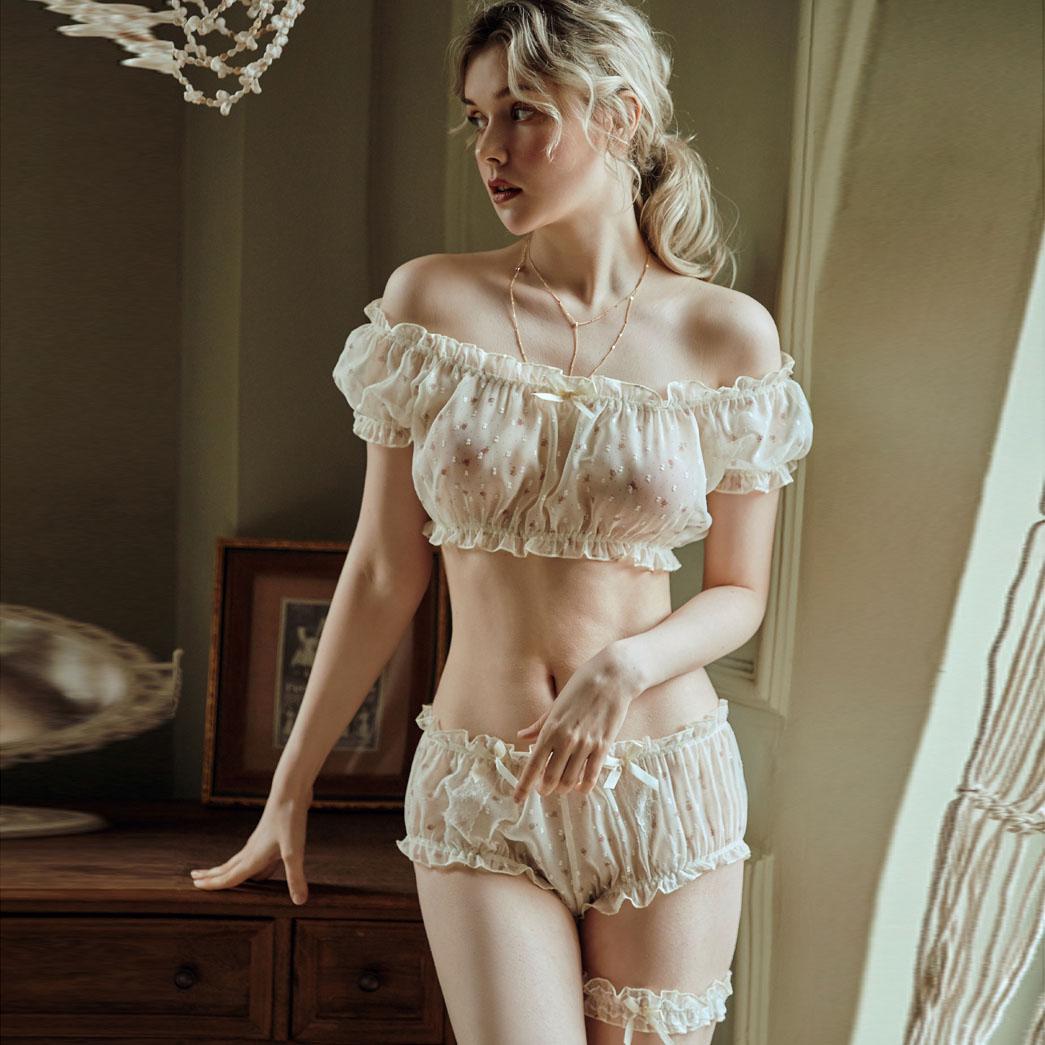 Temptation Sexy Pajamas Lingerie Women Stars Ultra-thin Gauze Ruffles Off Shoulder Sleeve Tops Shorts Leg Ring Underwear Set