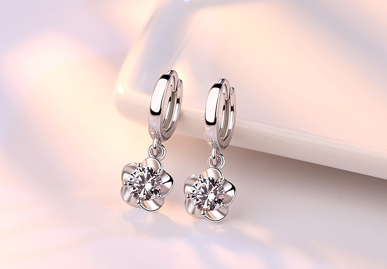Hd52cd53182f34012830c7d322414c78cZ - 100% 925 sterling silver shiny crystal plum flower Drop earrings female jewelry women gift wholesale drop shipping