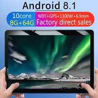 Kt107 redondo buraco tablet 10.1 Polegada hd tela grande android 8.10 versão moda tablet portátil 8g + 64g preto tablet preto plugue da ue