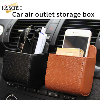 """Chic PU Leather Air Vent Outlet Storage Bag Box Mobile Phone Case Under 6"""" Inch Universal Hanging Box Car Accessories"""