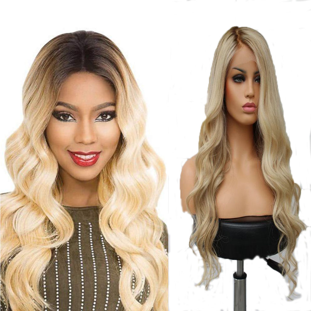 Full Lace 613 Blonde Wavy Wigs Remy Brazilian 1B 613 Lace Wig Ombre Full Lace Human Hair Wig For Women image