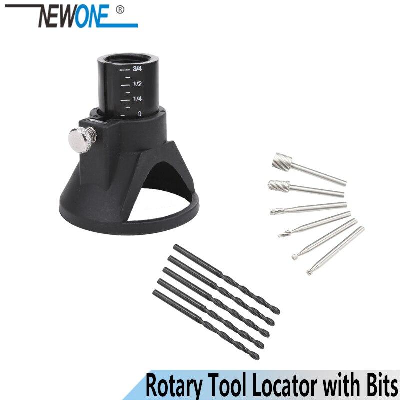 6Pcs HSS Wood Milling Burrs+1 Drill Carving Rotary Locator Set+Drill Bit, Fits Dremel Proxxon Rotary Tools Pack Of 11Pcs