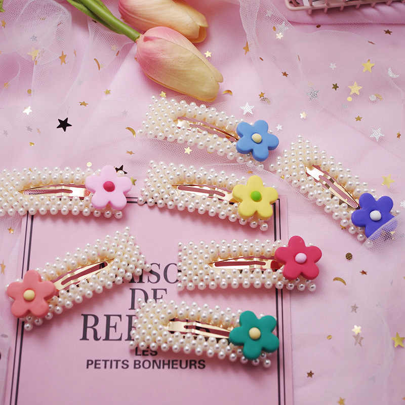 New Fashion Pearl Flower Hair Clip Korean Design Snap Barrette Stick Hairpin  for Women Elegant Hair Styling Accessories