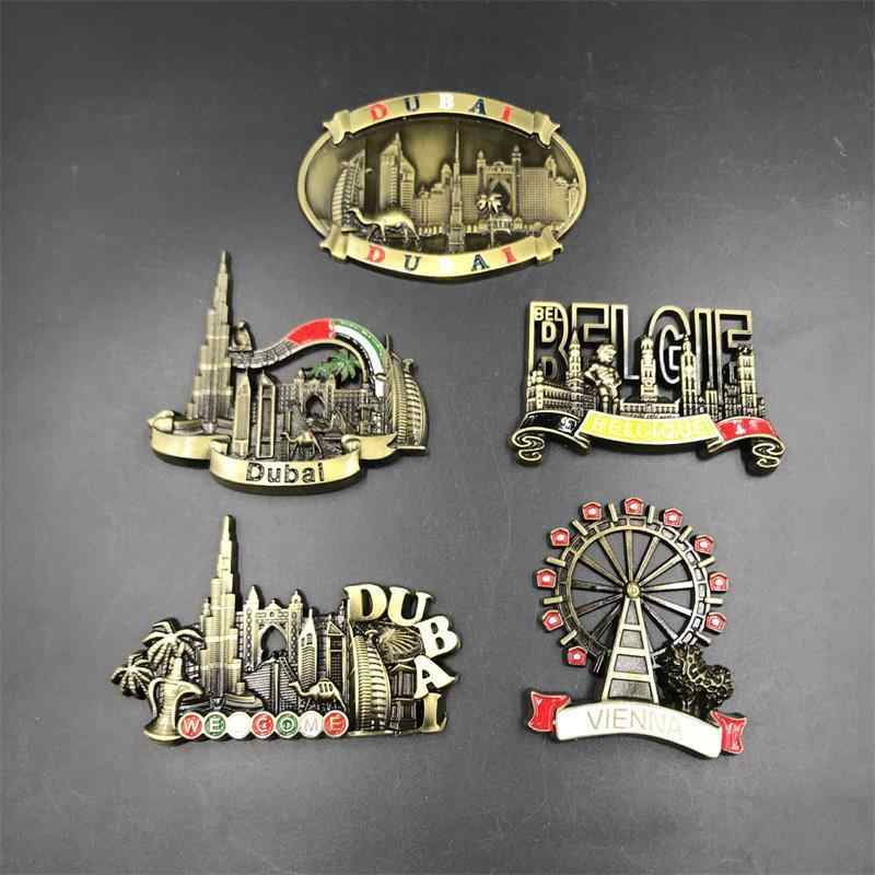 3d Fridge Magnet Welcome Dubai UAE Belgium Vienna Refrigerator Sticker Metal Magnetic Creative Landscape Stickers Handmade Craft