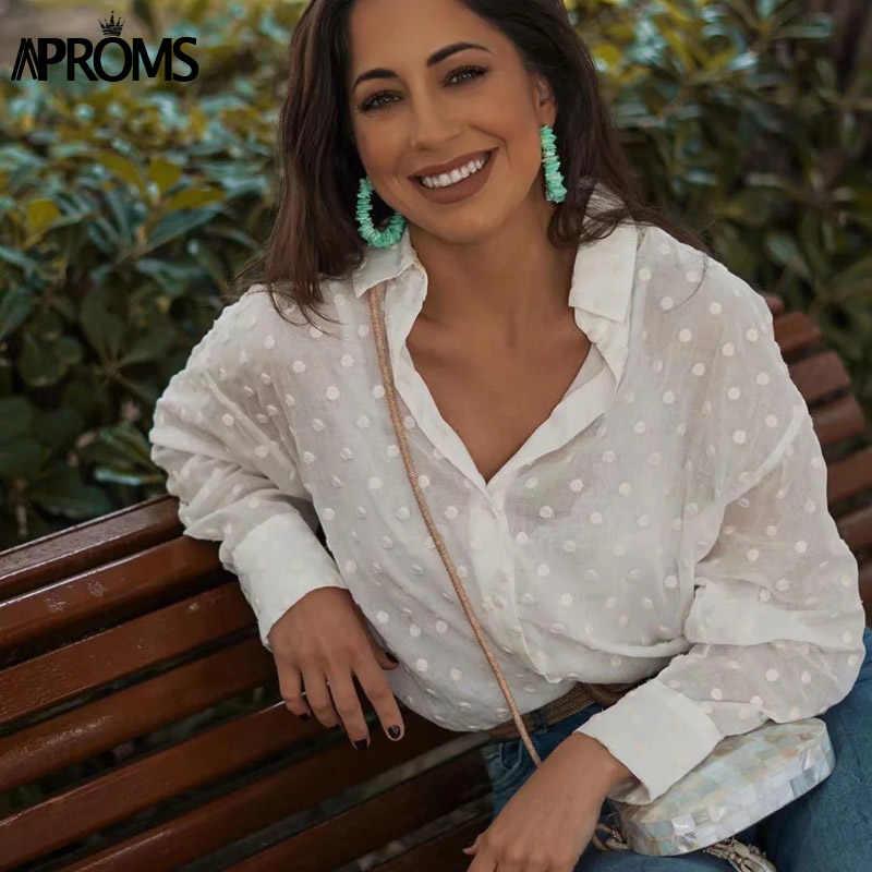 Aproms Vintage Polka Dot Tassel White Blouses Shirts Women 2020 Long Sleeve Beach Tunic Elegant Chiffon Shirt Casual Female Tops