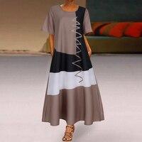 2020 женское богемное платье средней длины в стиле пэчворк, летние вечерние платья с коротким рукавом, женское длинное повседневное пляжное платье с круглым вырезом 3